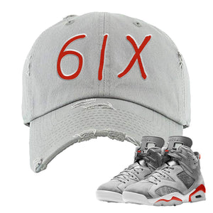 Jordan 6 Neutral Grey Sneaker Light Gray Distressed Dad Hat | Hat to match Nike Air Jordan 6 Neutral Grey Shoes | 6IX