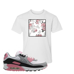 WMNS Air Max 90 Rose Pink Flower Box White Kid's T-Shirt To Match Sneakers