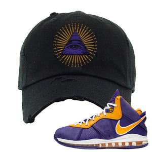 Lebron 8 Lakers Distressed Dad Hat | All Seeing Eye, Black