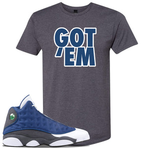 Jordan 13 Flint 2020 Sneaker Charcoal T Shirt | Tees to match Nike Air Jordan 13 Flint 2020 Shoes | Got Em
