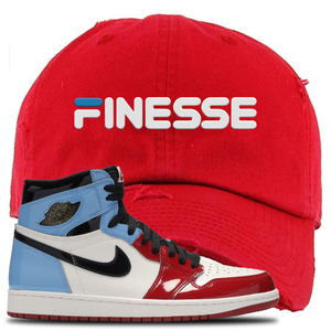 Air Jordan 1 Fearless Finesse Red Made to Match Distressed Dad Hat