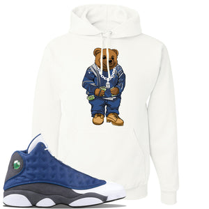Jordan 13 Flint 2020 Sneaker White Pullover Hoodie | Hoodie to match Nike Air Jordan 13 Flint 2020 Shoes | Sweater Bear