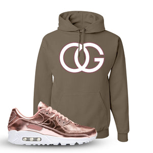 Air Max 90 WMNS 'Medal Pack' Rose Gold Sneaker Khaki Pullover Hoodie | Hoodie to match Nike Air Max 90 WMNS 'Medal Pack' Rose Gold Shoes | OG