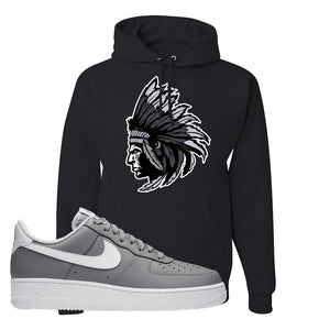 Air Force 1 Low Wolf Grey White Hoodie | Black, Indian Chief