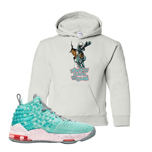 Lebron 17 South Beach Kids Pullover Hoodie | Dont Hate the Playa, White