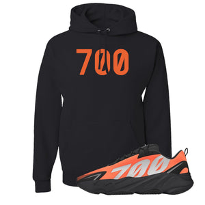 700 Black Pullover Hoodie to match Yeezy Boost 700 MNVN Orange Sneaker
