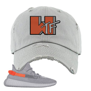 Yeezy Boost 350 V2 Tail Light Sneaker Light Gray Distressed Dad Hat | Hat to match Adidas Yeezy Boost 350 V2 Tail Light Shoes | WTF