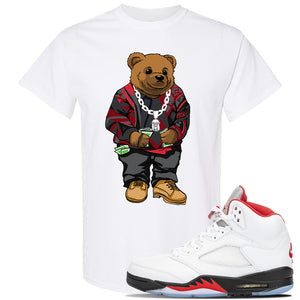 Air Jordan 5 OG Fire Red T Shirt | White, Sweater Bear