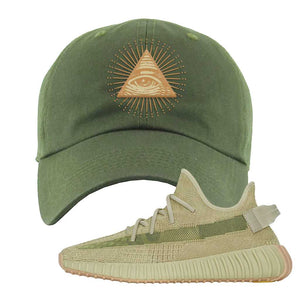 Yeezy 350 v2 Sulfur Dad Hat | Olive, All Seeing Eye