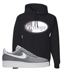 Air Force 1 Low Wolf Grey White Hoodie | Black, Vintage Oval