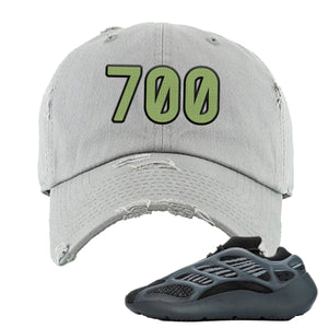 Yeezy Boost 700 V3 Alvah Sneaker Light Gray Distressed Dad Hat | Hat match Adidas Yeezy Boost 700 V3 Alvah Shoes | 700 Logo