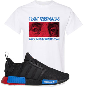 NMD R1 Black Red Boost Matching Tshirt | Sneaker shirt to match NMD R1s | Franklin Eyes, White