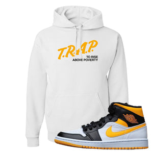 Air Jordan 1 Mid Varsity Yellow Black Hoodie | White, Trap To Rise Above Poverty