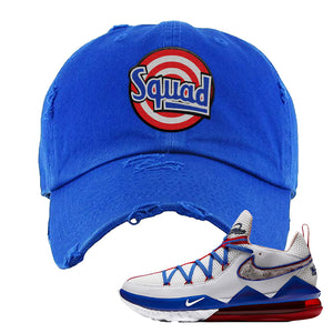 LeBron 17 Low Tune Squad Sneaker Royal Blue Distressed Dad Hat | Hat to match Nike LeBron 17 Low Tune Squad Shoes | Squad