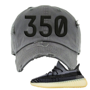 Yeezy Boost 350 V2 Asriel Carbon Distressed Dad Hat | 350, Dark Gray