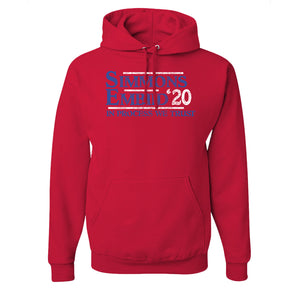 Simmons & Embiid 2020 Pullover Hoodie | Ben Simmons & Joel Embiid 2020 Red Pull Over Hoodie the front of this hoodie has the simmons embiid logo on it