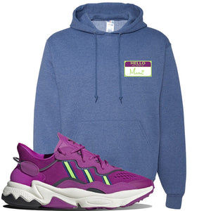 Ozweego Vivid Pink Sneaker Vintage Heather Blue Pullover Hoodie | Hoodie to match Adidas Ozweego Vivid Pink Shoes | Hello my Name is Mami