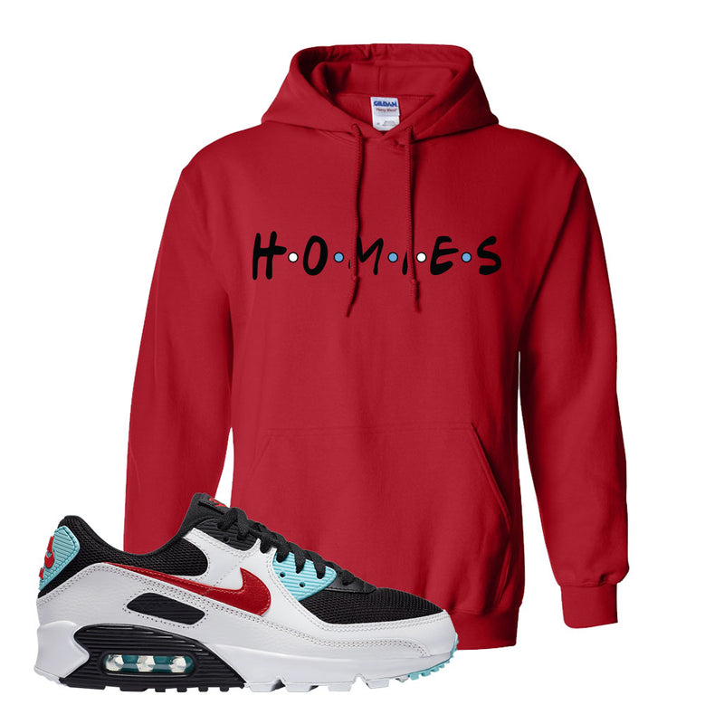 Air Max 90 Bleached Aqua and Chile Red Hoodie | Red, Homies