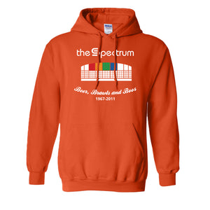 Spectrum Stadium Pullover Hoodie | The Spectrum Stadium Orange Pullover Hoodie the front of this hoodie has the spectrum stadium