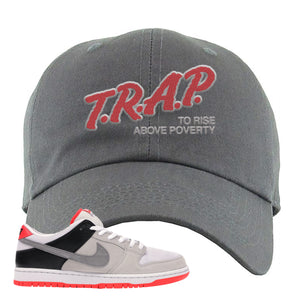 Nike SB Dunk Low Infrared Orange Label Trap To Rise Above Poverty Dark Gray Dad Hat To Match Sneakers