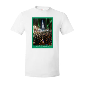 Superbowl Parade Score Board T-Shirt | Superbowl Score Board White T-Shirt the front of this t-shirt has the eagles superbowl parade scoreboard on it