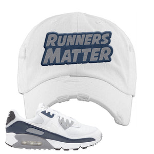 Air Max 90 White / Particle Grey / Obsidian Distressed Dad Hat | White, Runners Matter
