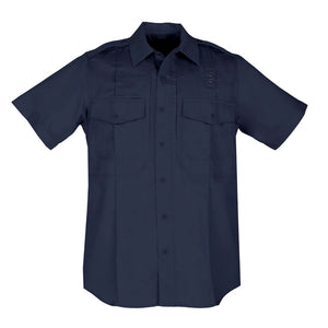 the Tactical Concealed Zipper Short Sleeve Navy Button Down Uniform Shirt | PDU Class B Navy Blue Duty Shirt has a hidden zipper for accessibility