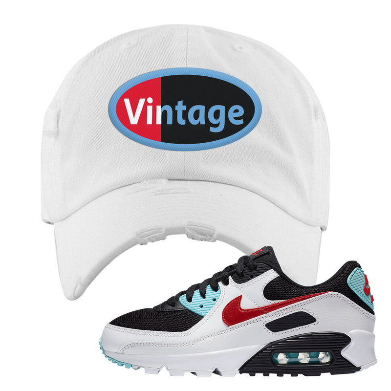 Air Max 90 Bleached Aqua and Chile Red Distressed Dad Hat | White, Vintage Oval