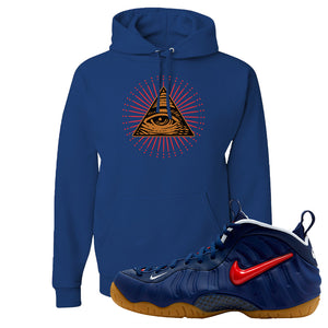 Air Foamposite Pro USA Hoodie | Royal Blue, All Seeing Eye