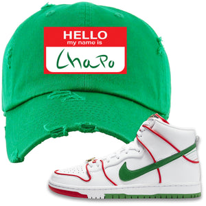 Paul Rodriguez's Nike SB Dunk High Sneaker Green Distressed Dad Hat | Distressed Dad Hat to match Paul Rodriguez's Nike SB Dunk High Shoes | Hello My Name Is Chapo