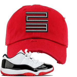 Jordan 11 Low White Black Red Sneaker Red Distressed Dad Hat | Hat to match Nike Air Jordan 11 Low White Black Red Shoes | Jordan 11 23