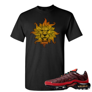 printed on the front of the air max plus sunburst sneaker matching black tee shirt is the vintage lion head logo