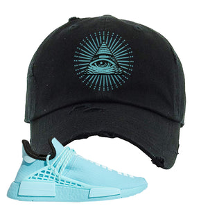 Pharell x NMD Hu Aqua Distressed Dad Hat | All Seeing Eye, Black