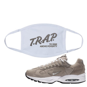 Air Max Triax 96 Grey Suede Face Mask | Trap To Rise Above Poverty, White