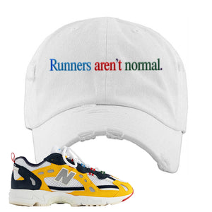 827 Abzorb Multicolor Yellow Aime Leon Dore Sneaker White Distressed Dad Hat | Hat to match 827 Abzorb Multicolor Yellow Aime Leon Dore Shoes | Runner's Aren't Normal