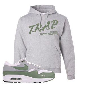 Air Max 1 Spiral Sage Hoodie | Trap To Rise Above Poverty, Ash