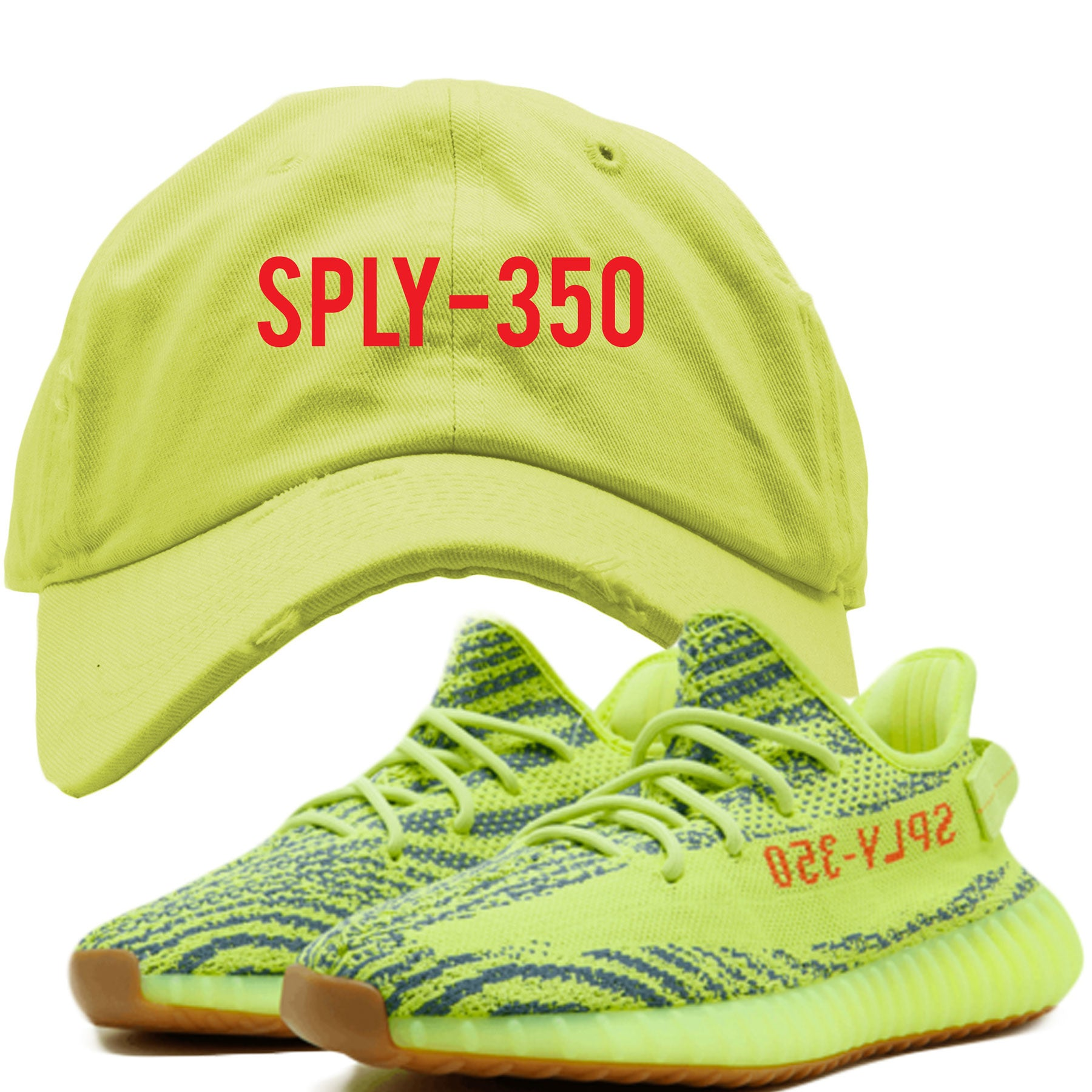 bde16b7e480d4 Embroidered on the front of the Frozen Yellow Yeezy 350 Boost V2 sneakers  is the word