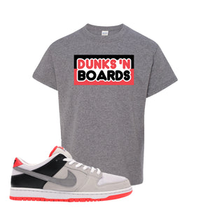 Nike SB Dunk Low Infrared Orange Label Dunks N Boards Sport Grey Kid's T-Shirt To Match Sneakers