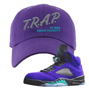 Air Jordan 5 Alternate Grape Dad Hat | Purple, Trap To Rise Above Poverty