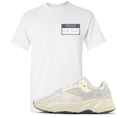 Yeezy Boost 700 Analog Sneaker Match Hello My Name Is Hype Beast Pablo White T-Shirt