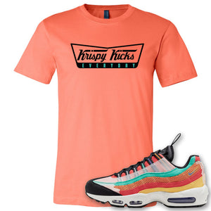 Air Max 95 Black History Month Sneaker Coral Silk T Shirt | Tees to match Nike Air Max 95 Black History Month Shoes | Krispy Kicks