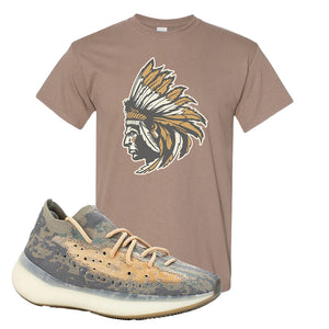 Yeezy Boost 380 Mist Sneaker Brown Savanna T Shirt | Tees to match Adidas Yeezy Boost 380 Mist Shoes | Indian Chief