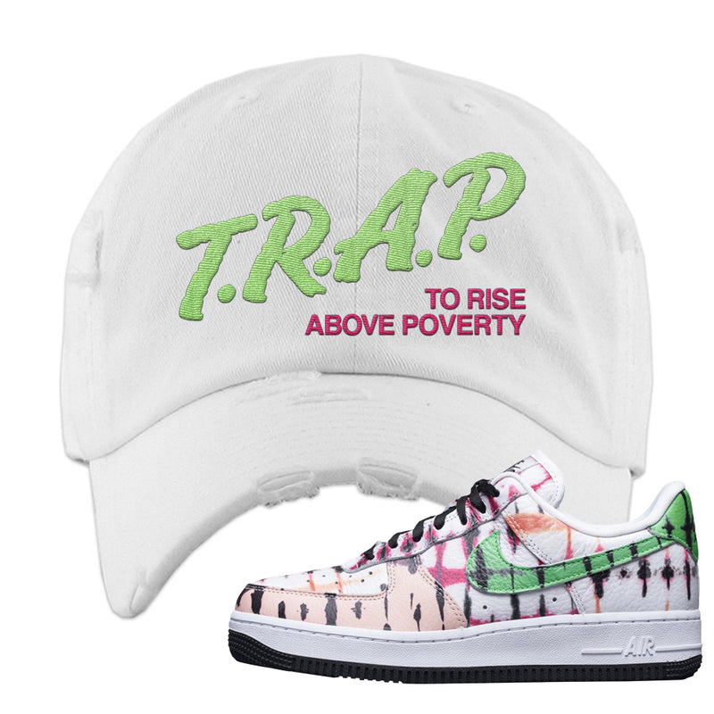 Air Force 1 Low Multi-Colored Tie-Dye Distressed Dad Hat | White, Trap To Rise Above Poverty