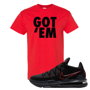 LeBron 17 Low Bred Sneaker Red T Shirt | Tees to match Nike LeBron 17 Low Bred Shoes | Got Em