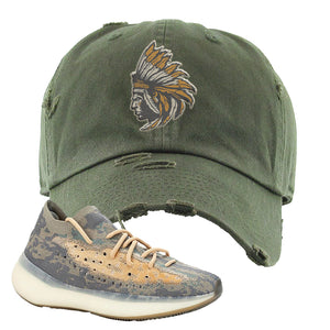 Yeezy Boost 380 Mist Sneaker Dark Gray Distressed Dad Hat | Hat to match  Adidas Yeezy Boost 380 Mist Shoes | Indian Chief