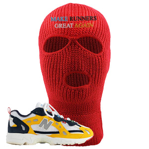 827 Abzorb Multicolor Yellow Aime Leon Dore Sneaker Red Ski Mask | Winter Mask to match 827 Abzorb Multicolor Yellow Aime Leon Dore Shoes | Make Runners Great Again Basic