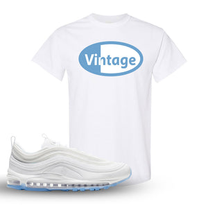 Air Max 97 White/Ice Blue/White Sneaker White T Shirt | Tees to match Nike Air Max 97 White/Ice Blue/White Shoes | Vintage Oval