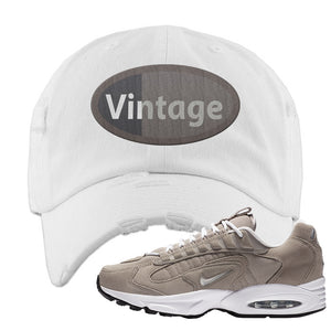 Air Max Triax 96 Grey Suede Distressed Dad Hat | Vintage Oval, White