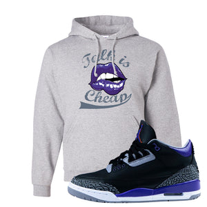 Air Jordan 3 Court Purple Hoodie | Talk Is Cheap, Ash