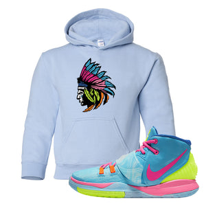 Kyrie 6 Pool Kids Pullover Hoodie | Indian Chief, Light Blue